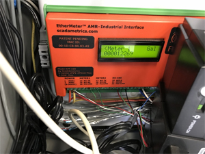 The connected EtherMeter displaying totalization
